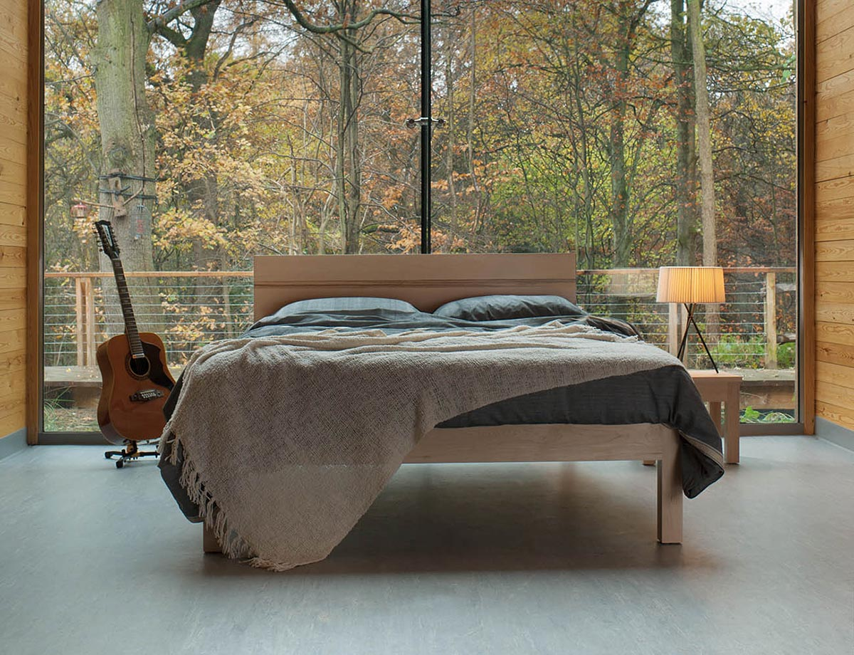 British made solid wood Tibet bed made from Maple