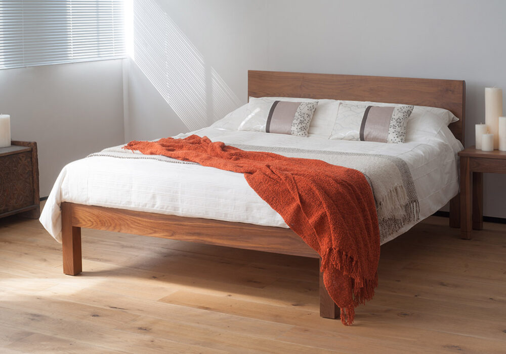 tibet contemporary solid wooden bed here made from Walnut