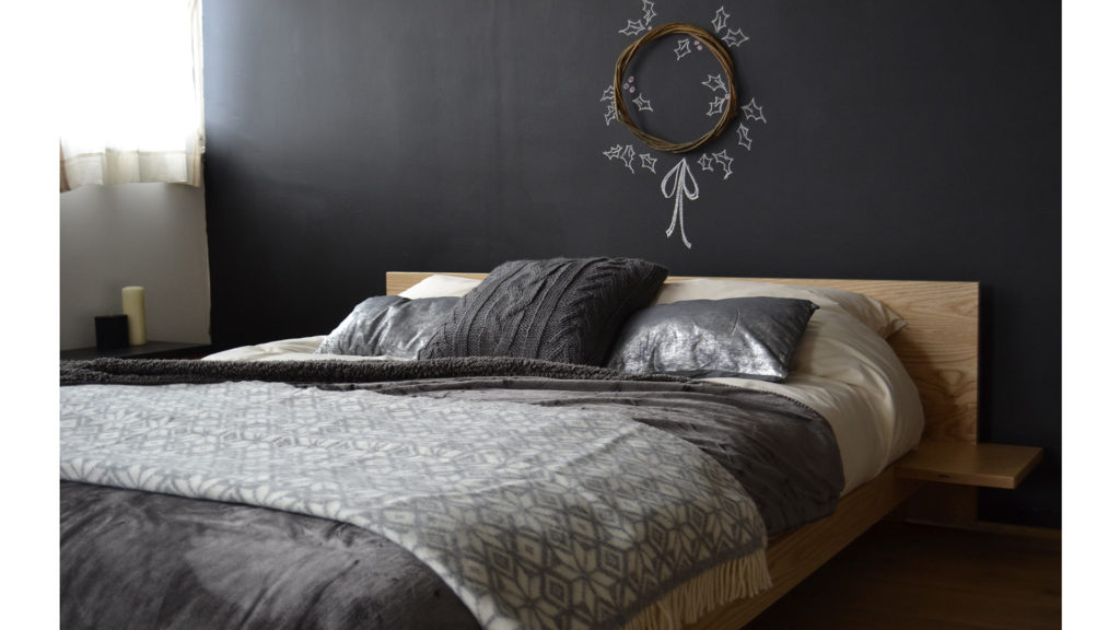 Scandinavian Christmas look for our Kulu low wooden platform-style bed