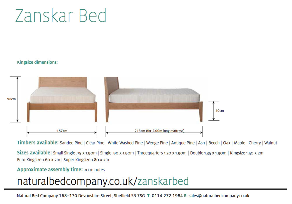 Our classic wooden Zanskar bed dimensions and sizes.