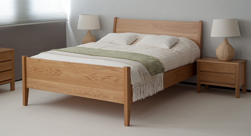 Zanskar solid wooden bed can be made with a footboard as shown here.