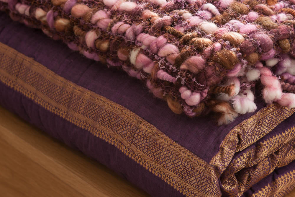 Zari Indian Quilt, Blackberry