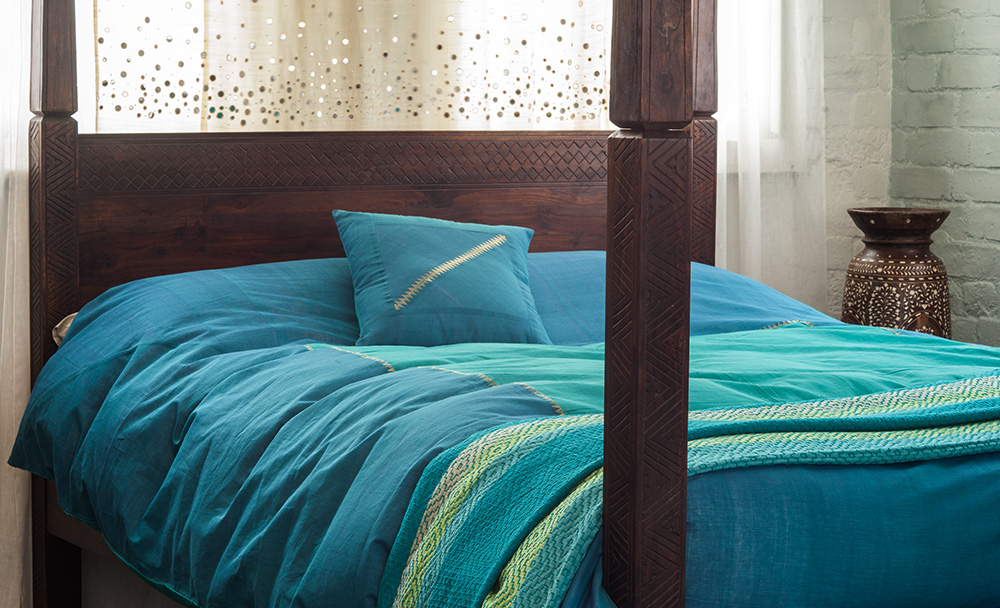 Hyderabad Kingfisher Turquoise Duvet Cover Natural Bed