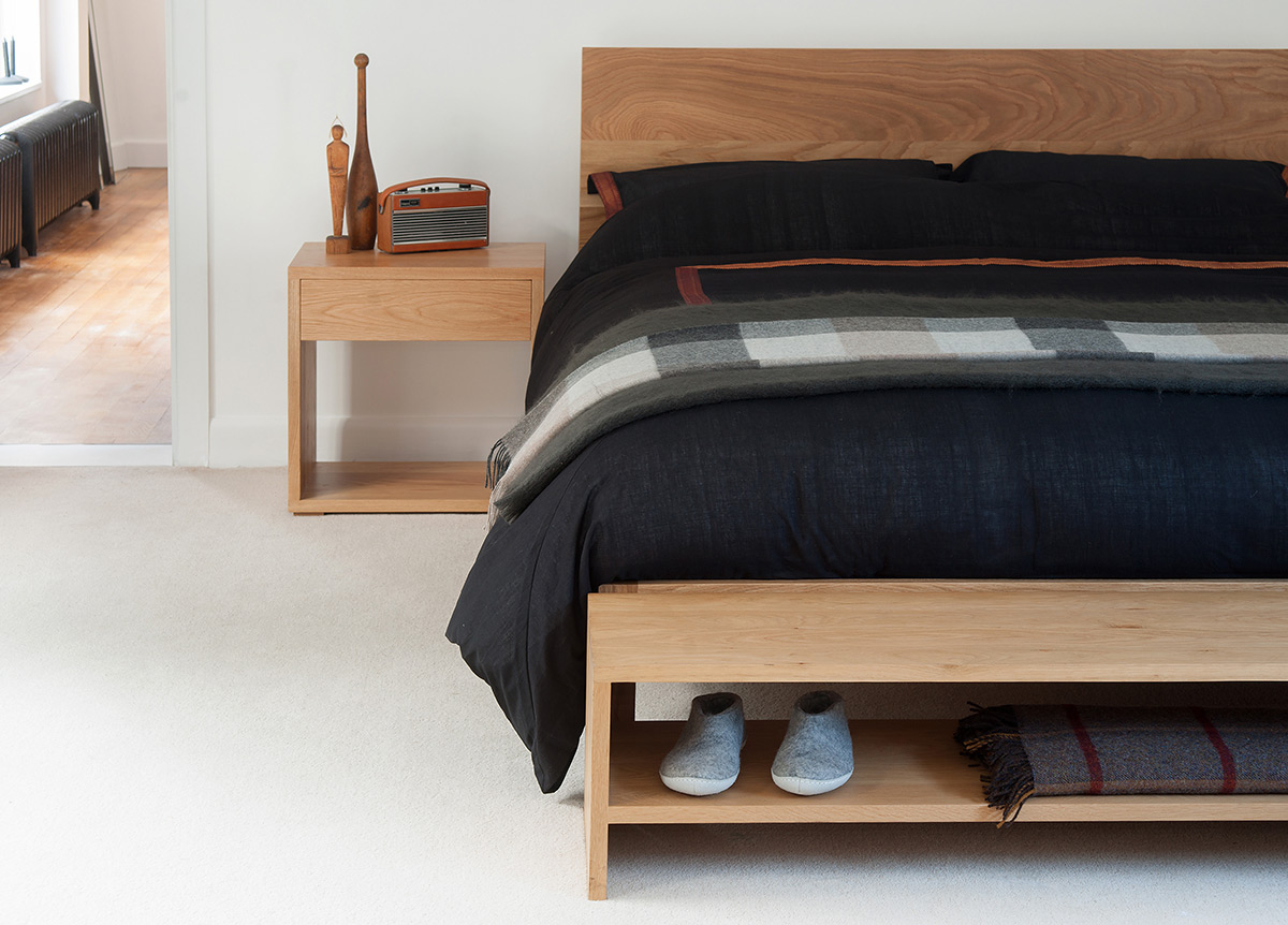 Oak bedroom furniture - oak malabar bed, cube bedside table and storage bench