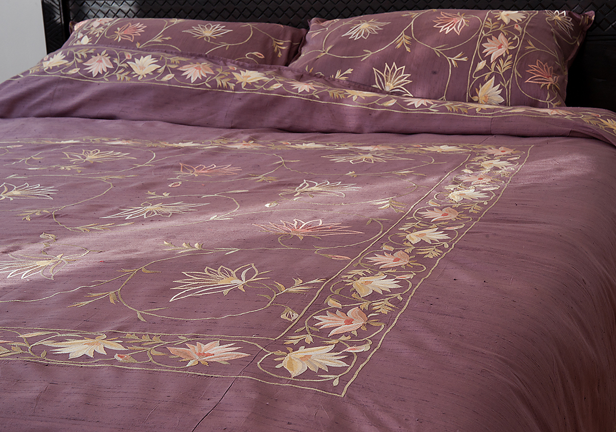 Kashmir Amethyst Indian Silk Duvet Cover Natural Bed