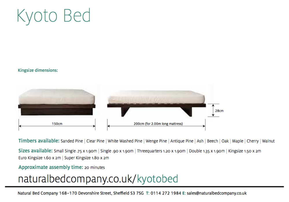 The kyoto bed sizes and dimensions