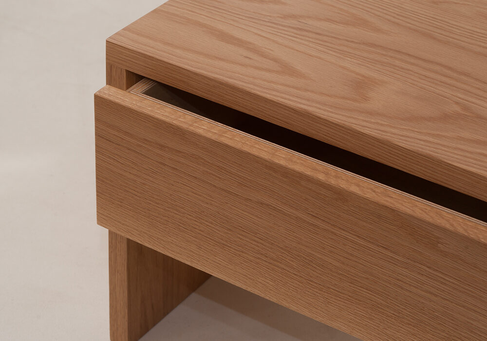 A close view of our hand made Oak Kyoto drawer table