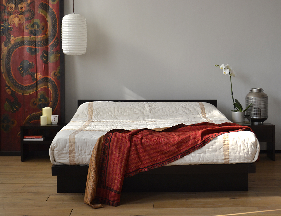 Oriental Bedroom featuring our low Kyoto Japanese style bed and bedside tables.