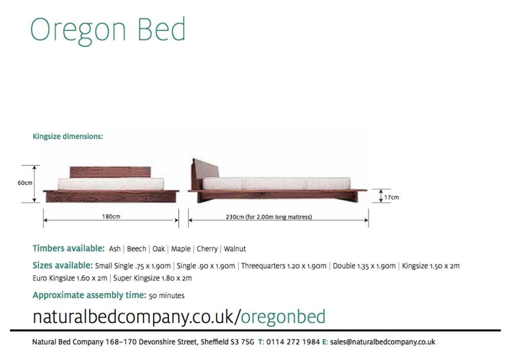oregon platform bed dimensions and size options