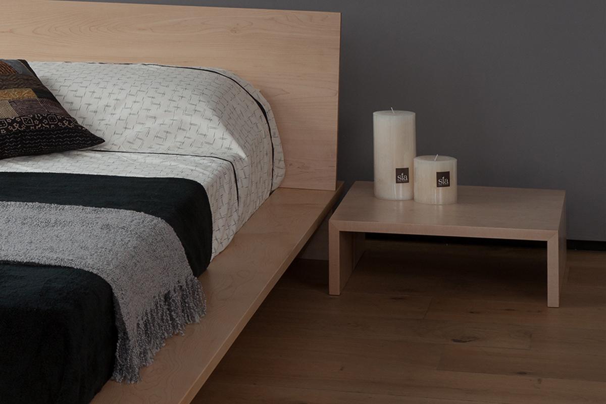 Oregon bedside table in maple designed to go with our Oregon platform bed
