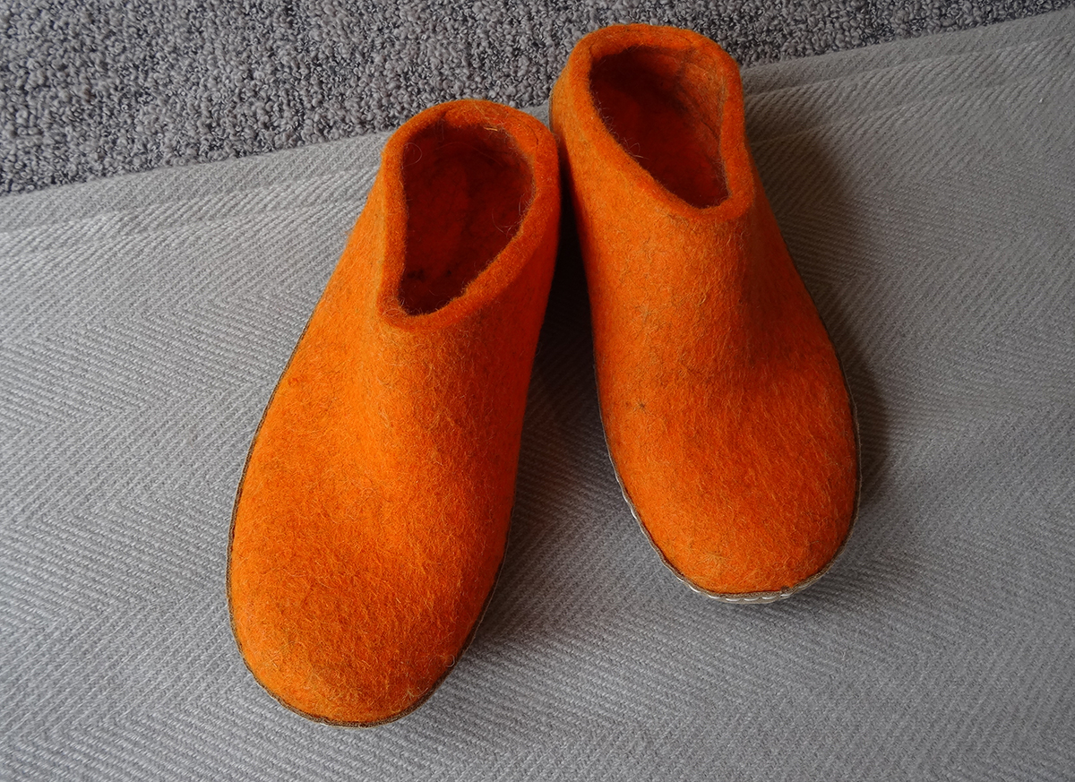 glerups orange slippers