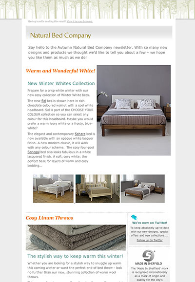 natural bed company email newsletter