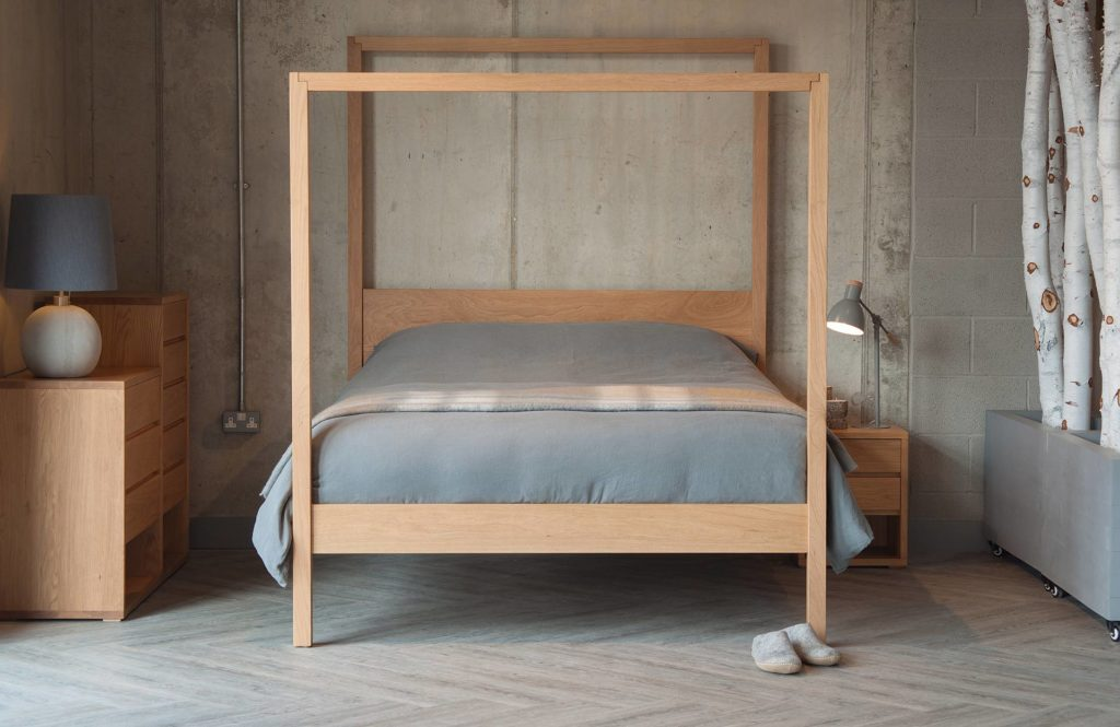 Contemporary minimal 4-poster bed the Oasis, hand made in Sheffield uk from a choice of timbers