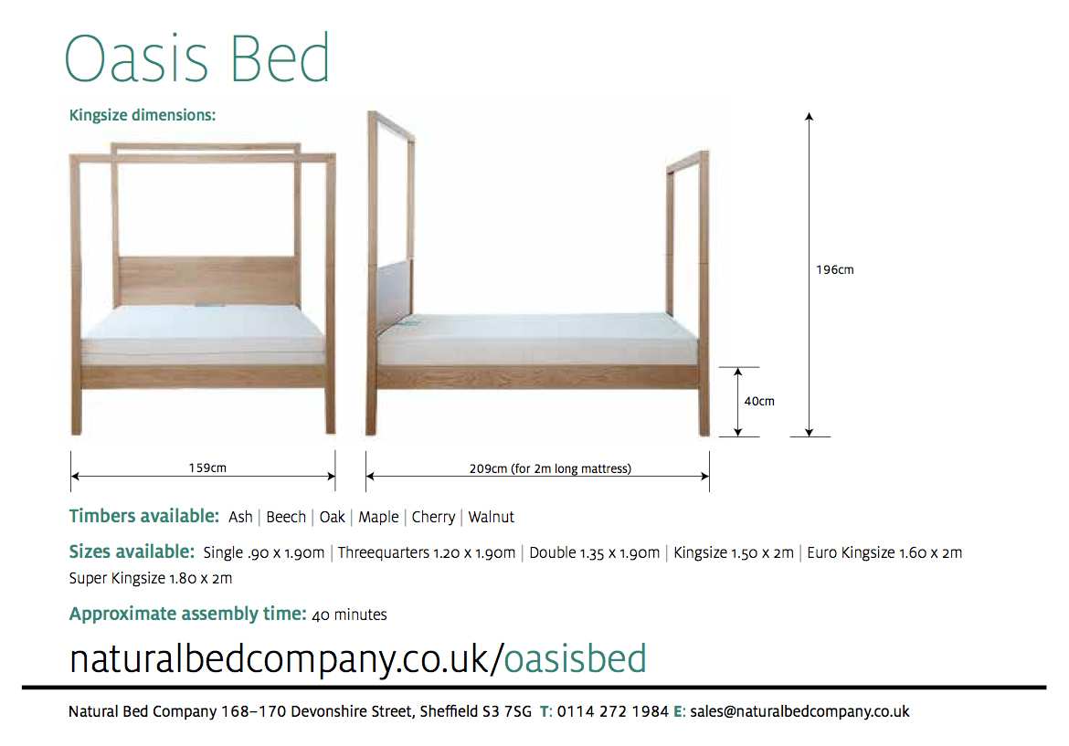 oasis wooden bed with dimensions and size options