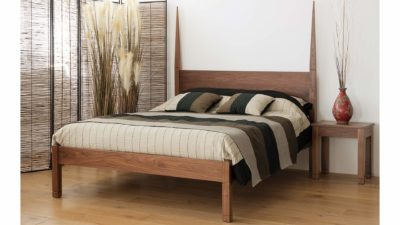 togo bed in solid walnut