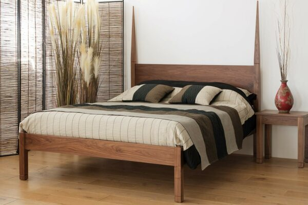 Exotic style Togo bed hand crafted in solid walnut wood