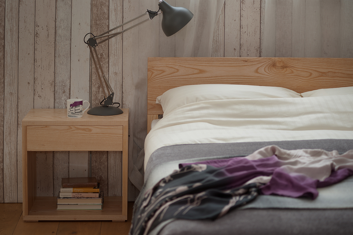 Contemporary bedside Cube table in Ash wood to match the Sahara low headboard bed.