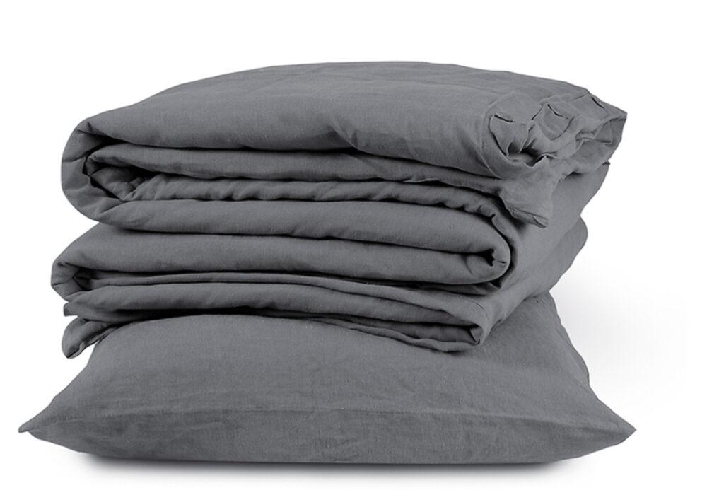 charcoal linen bedding