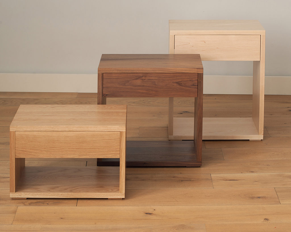 Cube modern wooden bedside tables hand made in Britain.