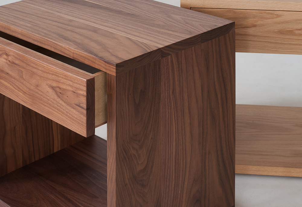 Natural Bed Co hand made Cube drawer tables - detail view of Walnut version with drawer opening
