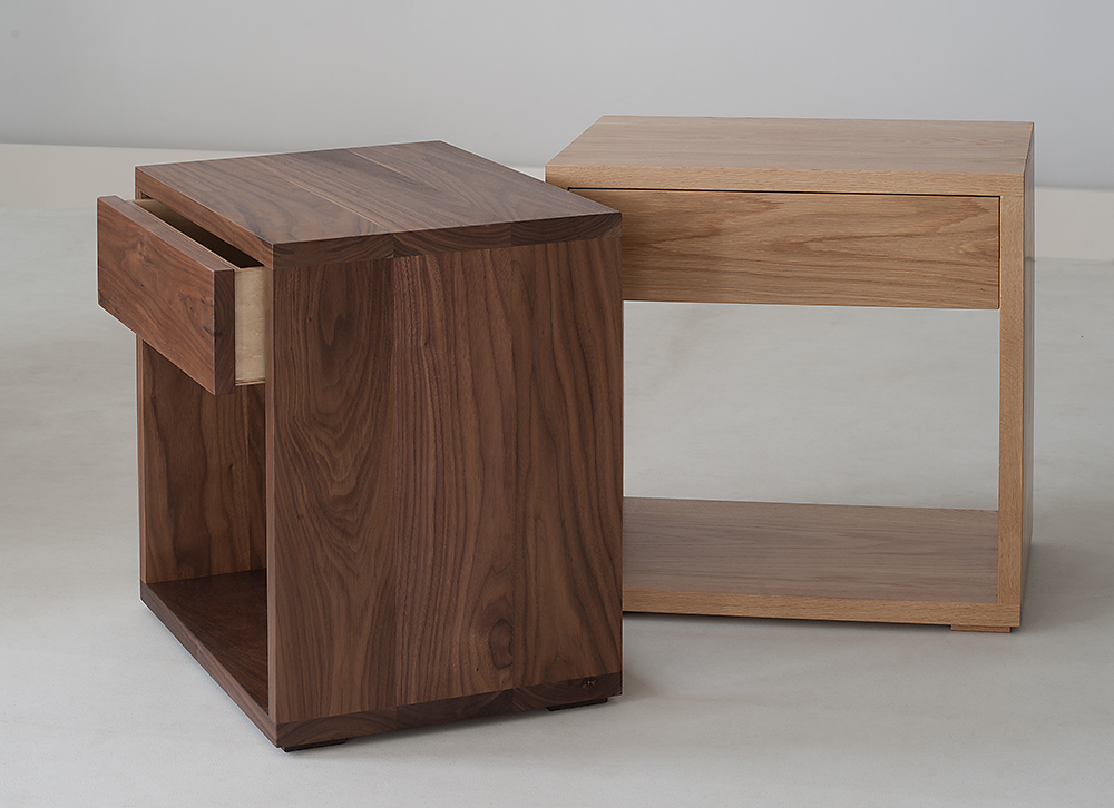 Cube modern bedside drawer table natural bed company - Modern bedside table ...