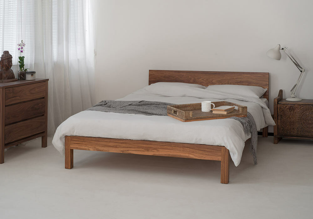 Dove grey linen bedding on our hand made low wooden Sahara bed