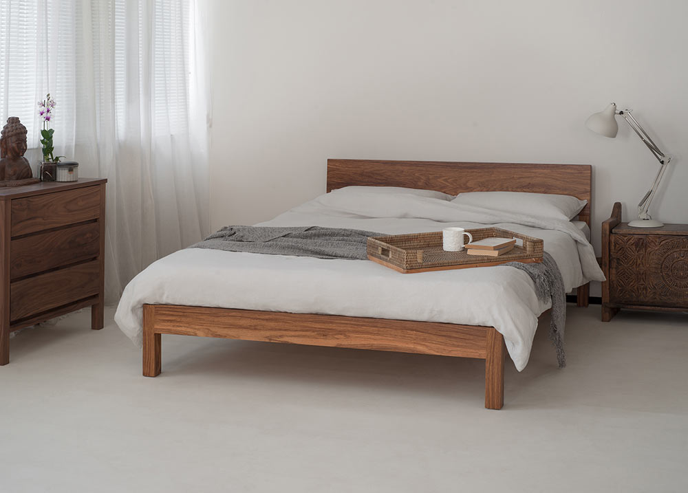 Dove grey linen bedding on Sahara bed