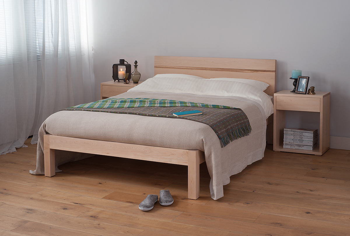 Contemporary chunky solid wood Tibet bed in Maple with a Walnut stripe in the headboard.