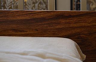 Bespoke Exotic hardwood Nevada bed, a view of the headboard