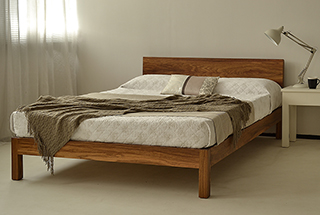 Sahara low wooden bed frame custom made in an exotic hardwood