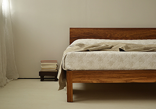 Sahara contemporary solid wooden bed - here in a bespoke exotic hardwood