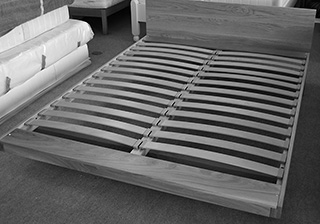 A Kingsize Kyoto Bed without mattress to show the sprung beech slat system.