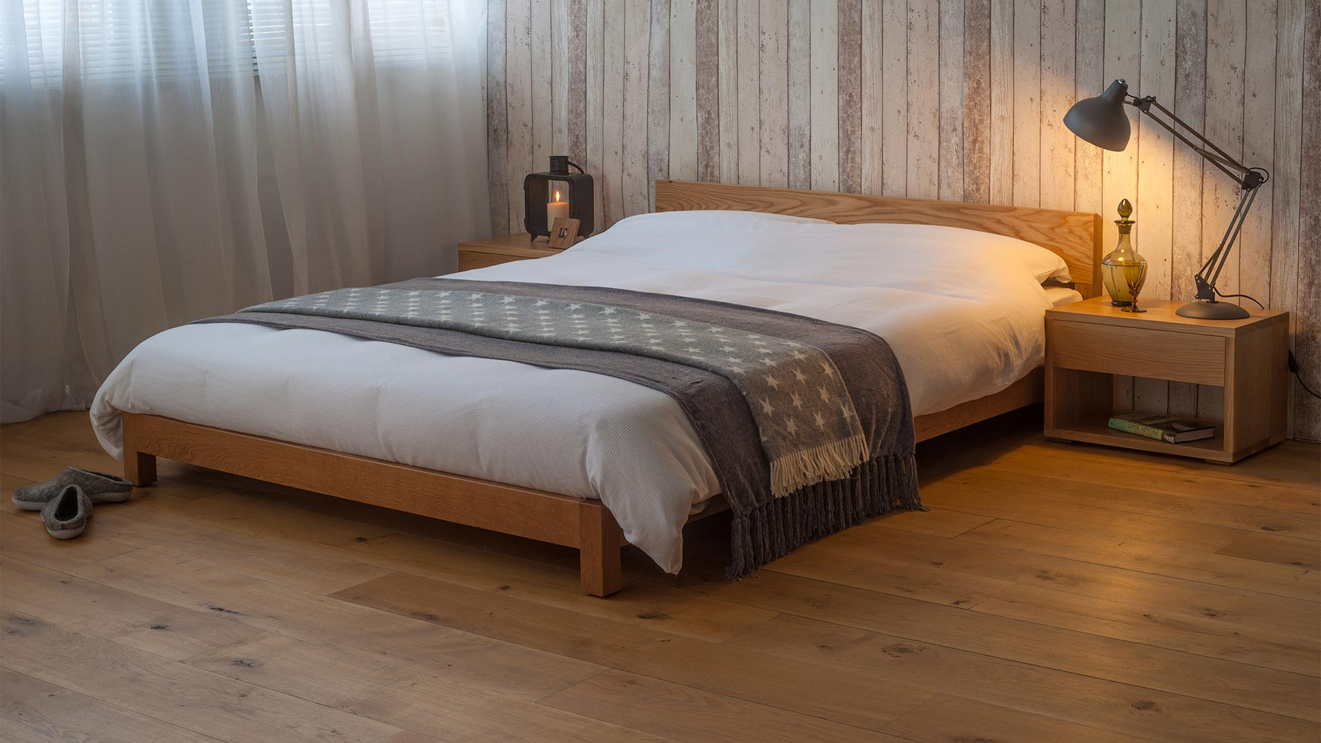 Low wooden Nevada bed with low cube bedside tables, great for attic bedrooms with low ceilings.