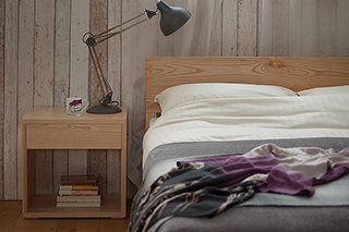 Ash Sahara solid wood bed with matching Ash Cube bedside table hand made in Sheffield