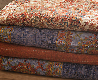 Indian bedding - gold, terracotta and purple
