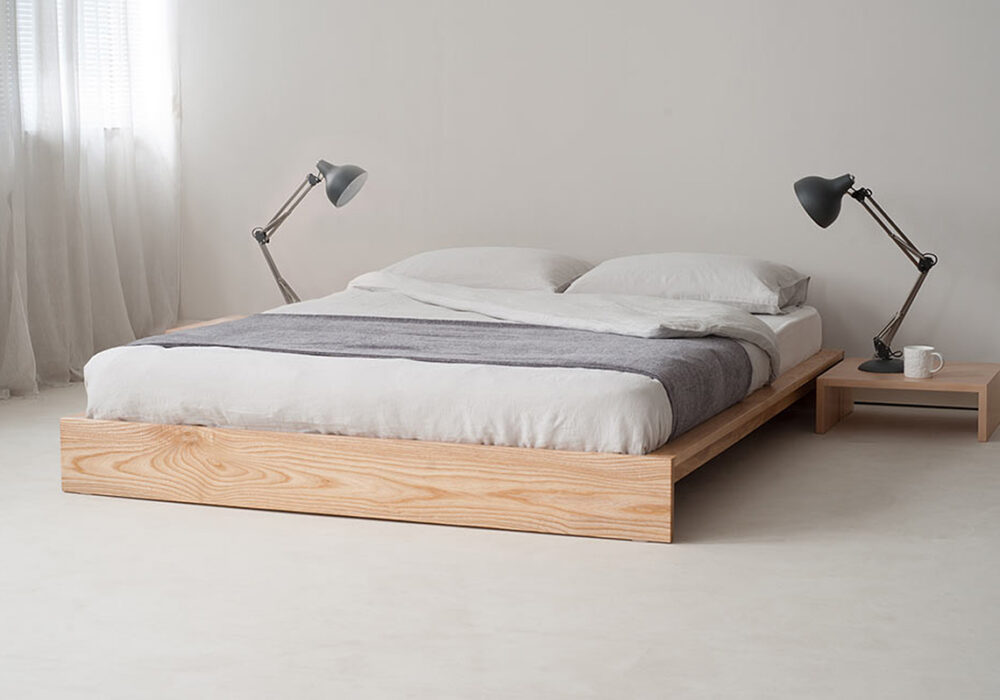 Ki wooden low bed base in solid ash, great for low ceiling bedrooms or loft spaces