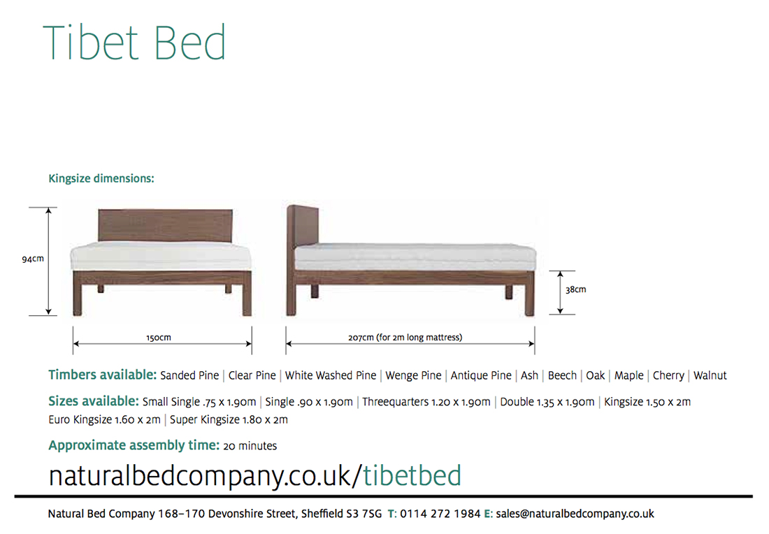 tibet wooden bed dimensions and size options