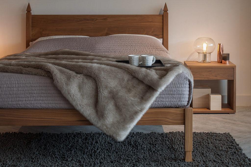 walnut wooden samarkand bed, hand made in Britain