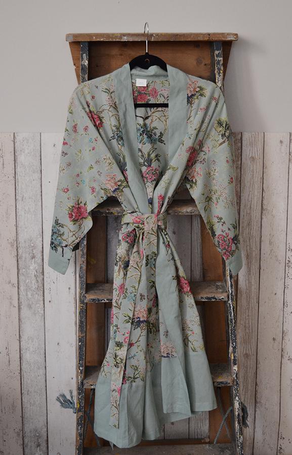 kimono robe - duck egg blue