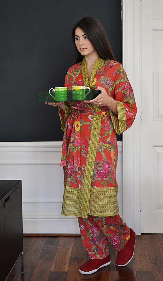 cotton pyjama bottoms & robe