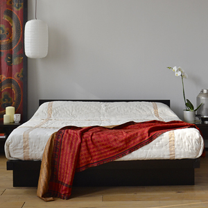 For an oriental bedroom style try the Kyoto Japanese style bed here in wenge stained wood.