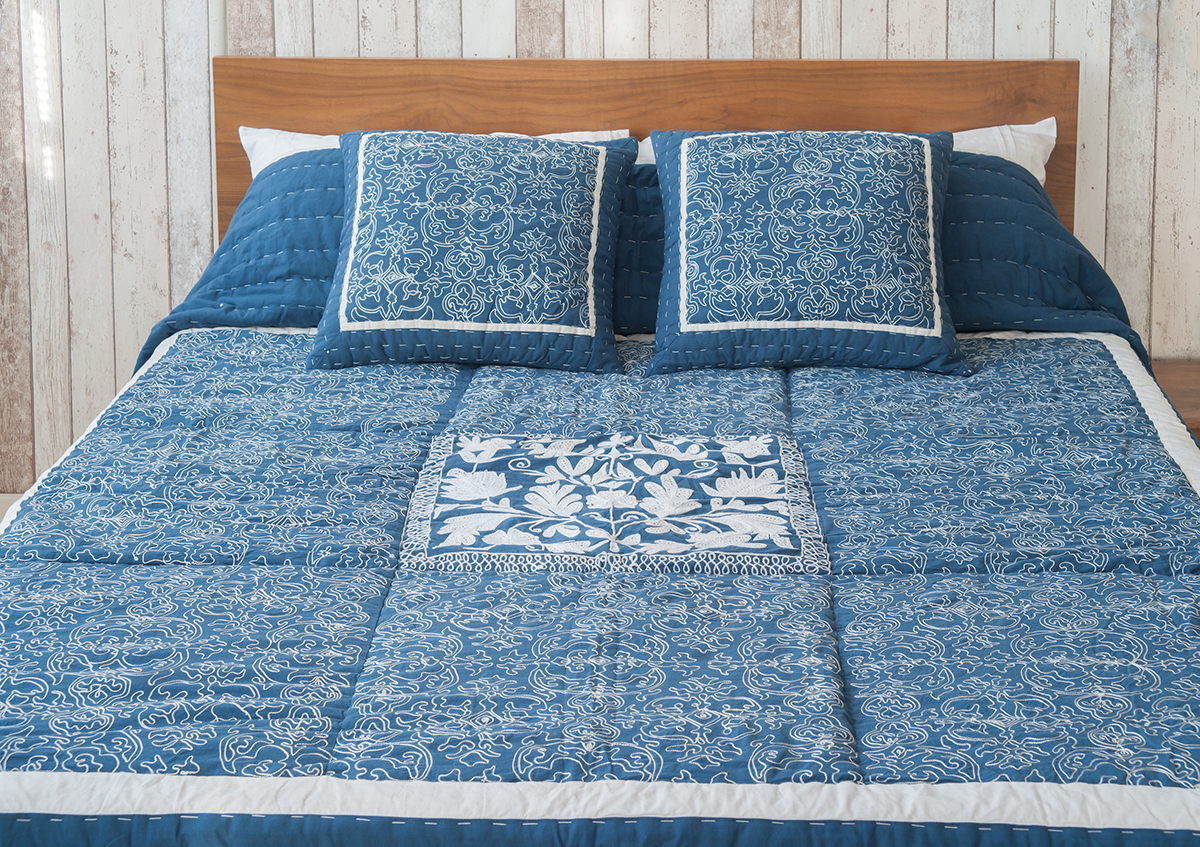 Blue Fleur Embroidered Bedspread Natural Bed Company