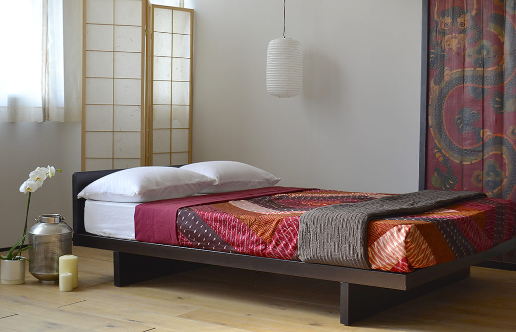 Kyoto oriental bedframe with headboard in a deep Wenge stained Pine.