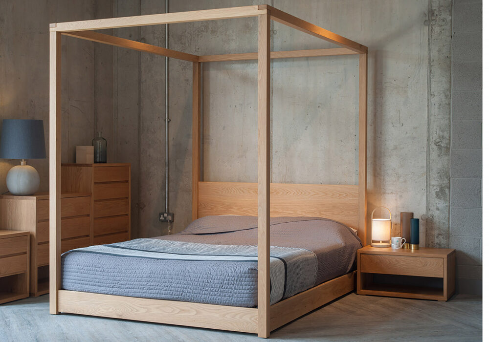 Our Cube contemporary 4 poster Bed with cube bedroom furniture, all in Oak