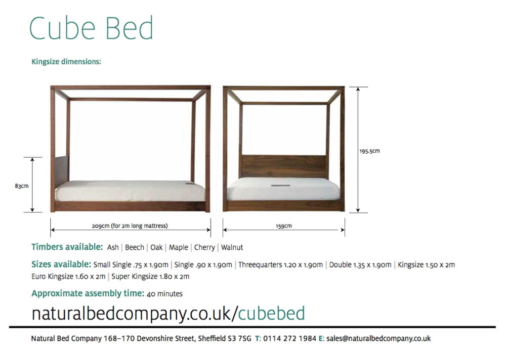 Cube low modern 4 Poster bed dimensions and sizes