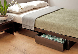 Our low Japanese style Kyoto bed with matching under-bed drawers for storage.