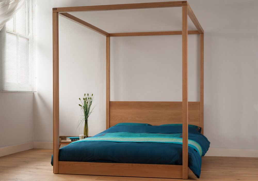 Cube - a hand made contemporary, solid wood, four poster bed