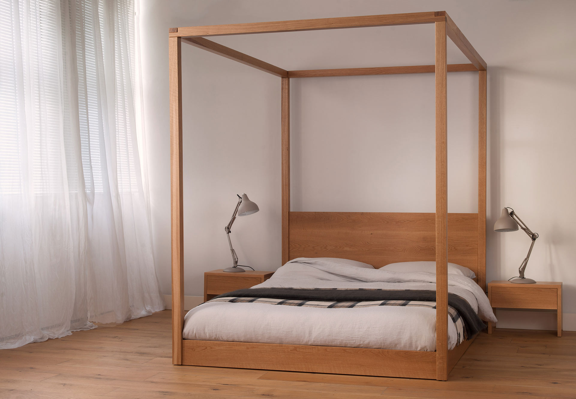 cube modern four poster bed solid wood natural bed