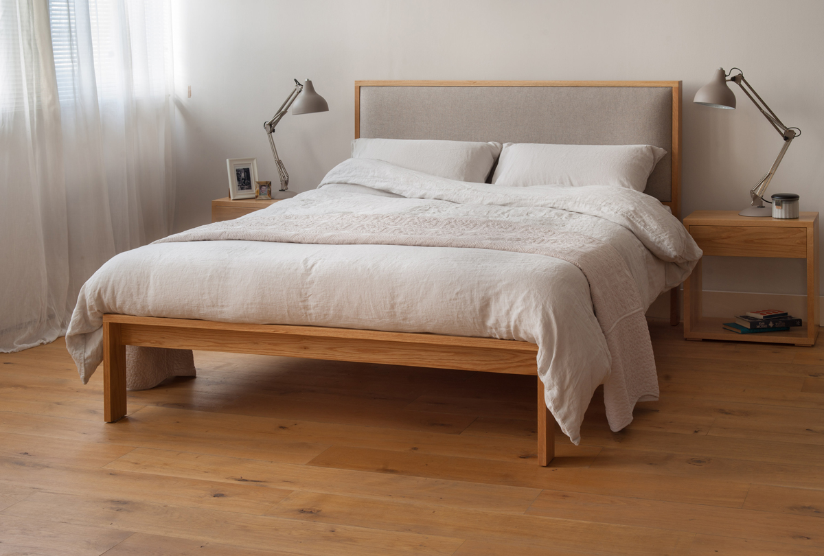 linen bedding shown on our Oak Shetland bed with padded headboard