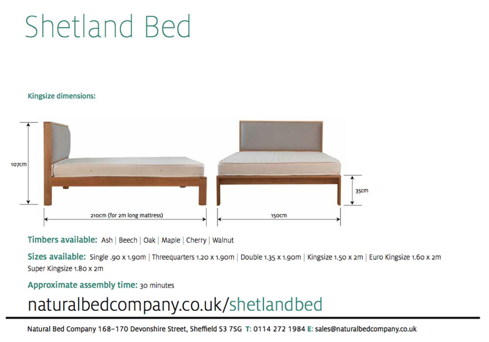 shetland wooden bed dimensions and size options